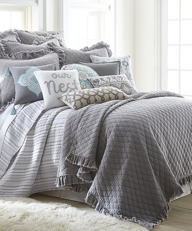 Take a look at this Gray Windowpane Quilt Set today!