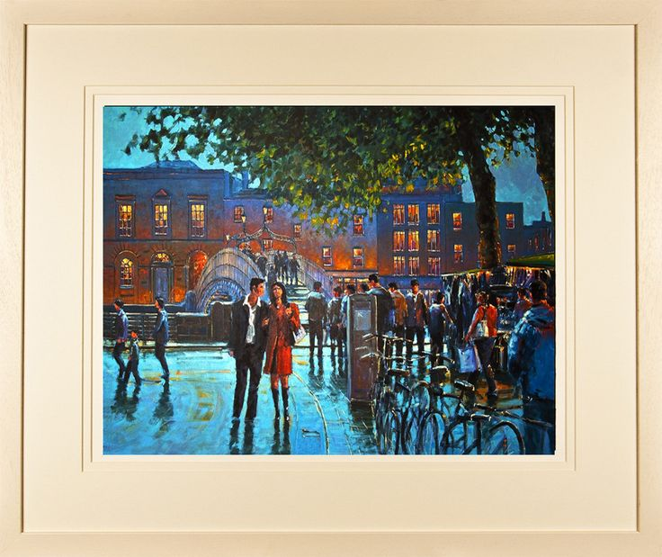Streets of Dublin.    A painting of a couple walking on a Dublin street