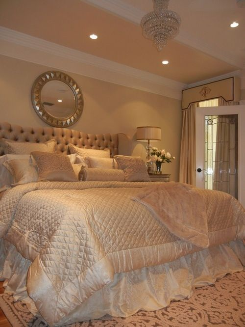 Cream Orange Paint Wall Color Glamorous Bedrooms With White Cream Bedding  And Soft Grey Tufted Headboard In Fascinating Decoration