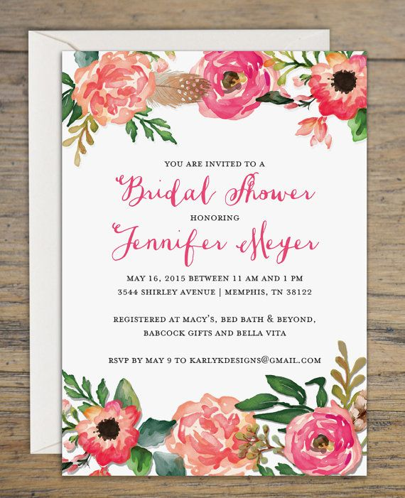 Printable Rustic Bridal Shower Invitation - Digital Bridal Shower Invite - Floral Wedding Shower Invitations - 5x7