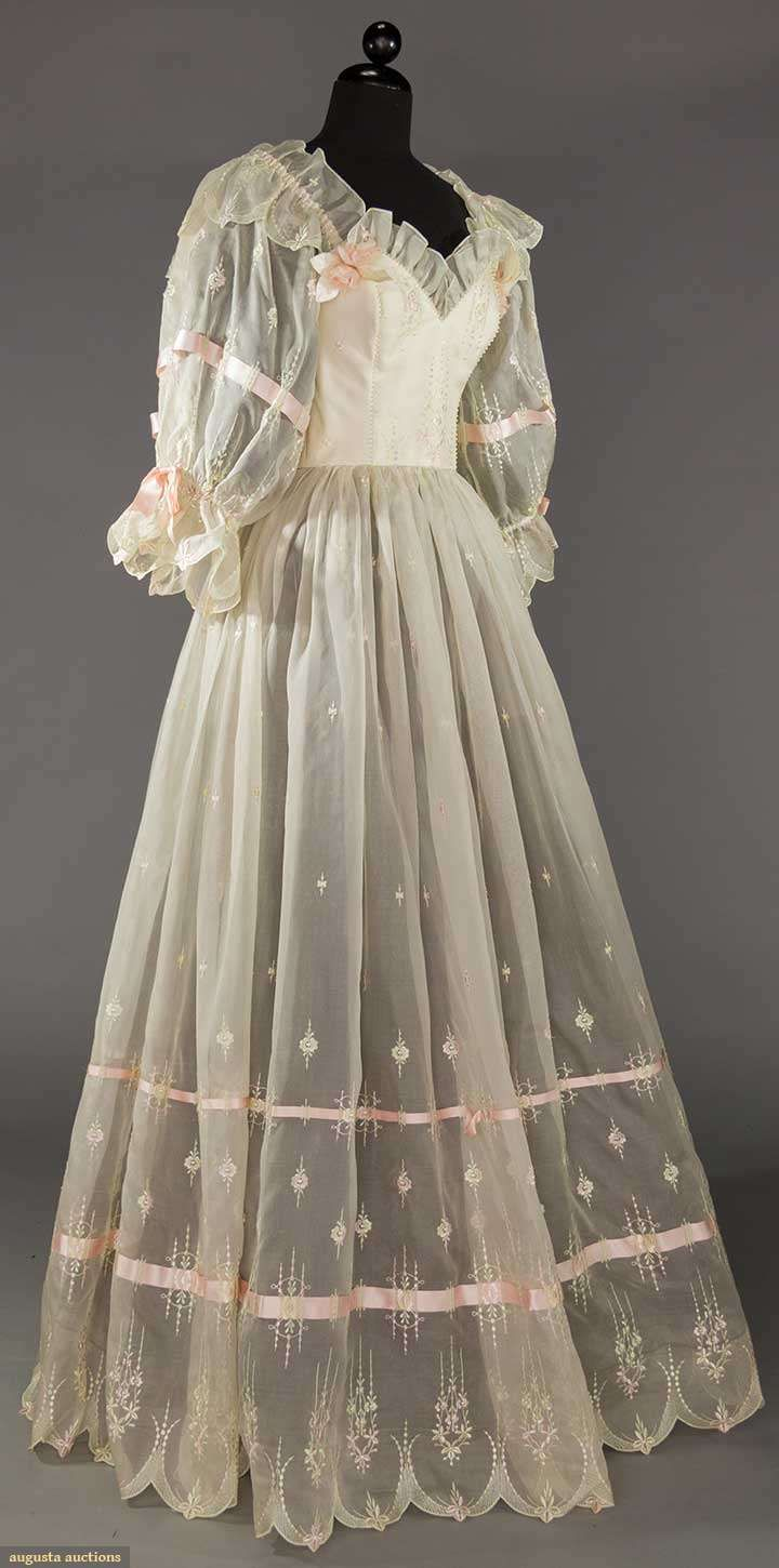 Wedding dress, silk, Emmanuelle label, British, 1980s
