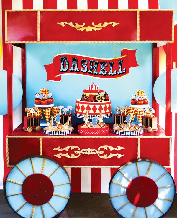 Vintage circus wagon dessert cart with wheels!