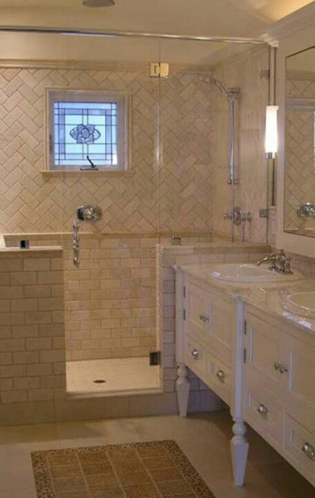 Herringbone Pattern With Subway Tiles In Beige Bathroom Ideas Walk Shower Home