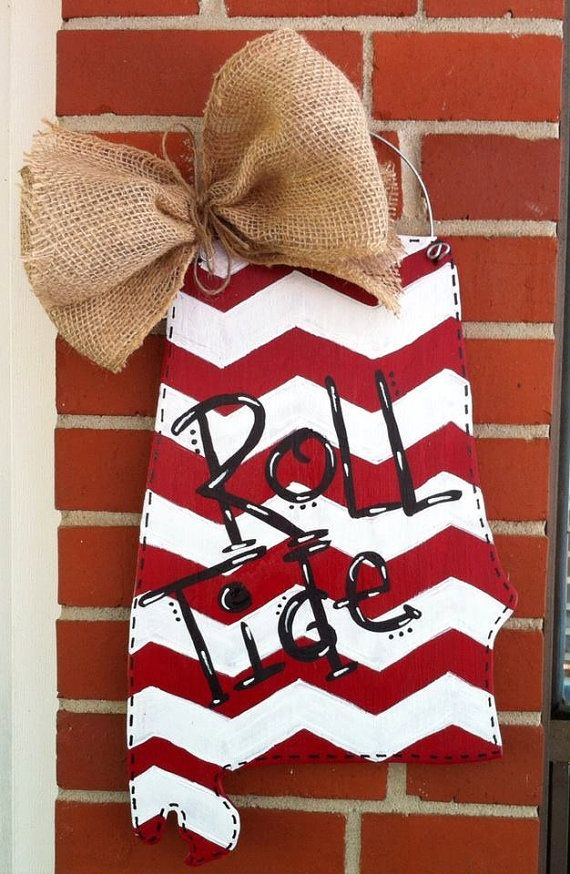 Alabama State Shaped Wood Door Hanger by craftigirlcreations, $30.00