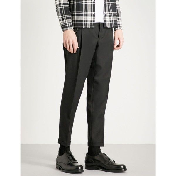 The Kooples Jake tapered fitted wool trousers (12.710 RUB) ❤ liked on Polyvore featuring men's fashion, men's clothing, men's pants, men's casual pants, mens cropped pants, mens skinny pants, mens skinny fit dress pants, mens super skinny dress pants and mens wool pants