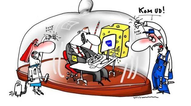 'Djøfokrati'. Ny debatrække kommer med et opråb til de nye akademikere: Kom ud af osteklokken! Tegning: Jørn Villumsen