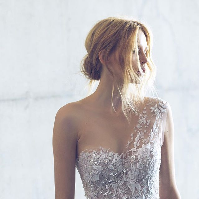 Our Crystal one shoulder gown from the #stardust collection #mirazwillinger #couture  photo by @mark4wedding