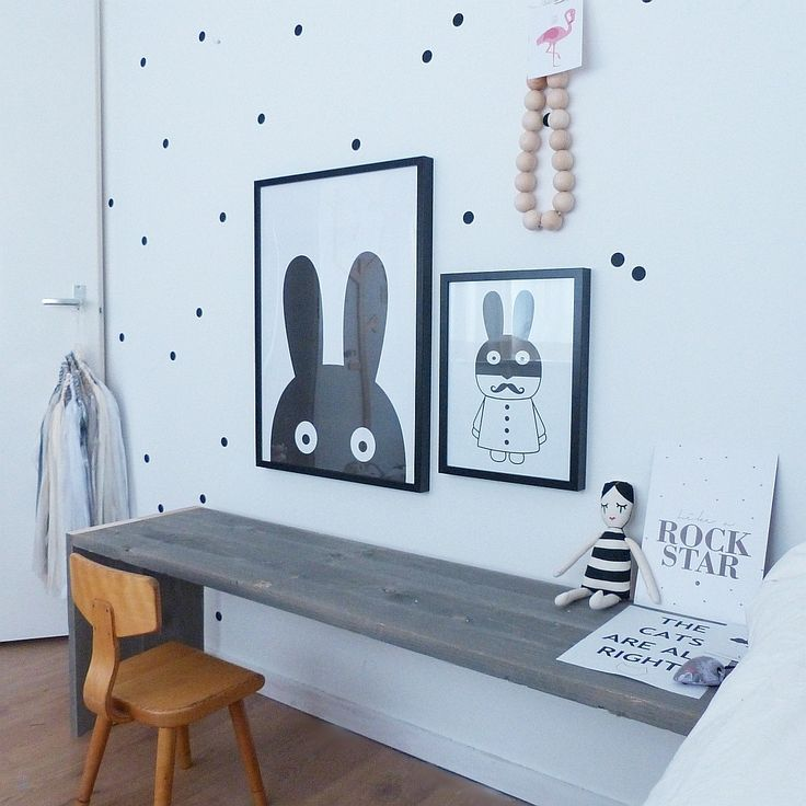 Desk bench kids room inspiration