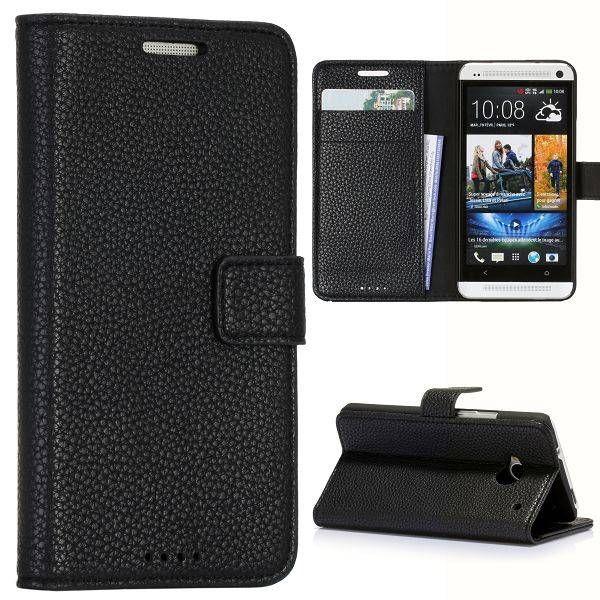 Zwart lychee bookcase hoesje voor HTC One m7