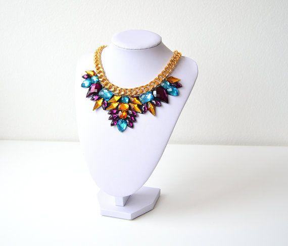 Gold Purple Rhinestone Gem Crystal Statement Necklace by GemsOver
