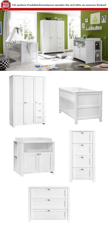 <H2>Babyzimmer-Set LUIZA</H2>  Dreiteiliges <STRONG>Babyzimmer-Set</STRONG> in schickem Holzdekor in der Farbe <STRONG>Anderson Pinie weiß</STRONG>. Das Set besteht aus einem 3-türigen Kleiderschrank, einem Babybett mit Matratzenauflage und einer Wickelkommode inkl. Wickelaufsatz und Unterstellregale. Durch die vielen Stauraummöglichkeiten werden Sie genügend Platz…