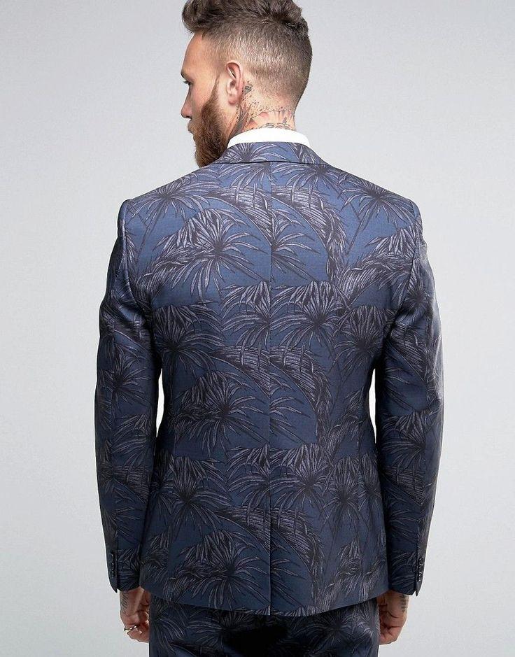 ASOS Skinny Suit Jacket In Tonal Navy Palm Print - Black