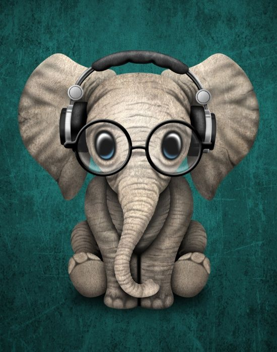 Cute Baby Elephant Dj Wearing Headphones and Glasses on Blue. By Jeff Bartels