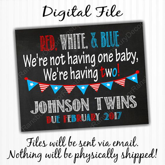 Digital File - Fourth of July Twin Pregnancy Announcement Chalkboard Sign - Printable Chalkboard - Pregnancy Reveal - 4th of July - Chalkboard Pregnancy Announcement - Twins - by RansburyDecor