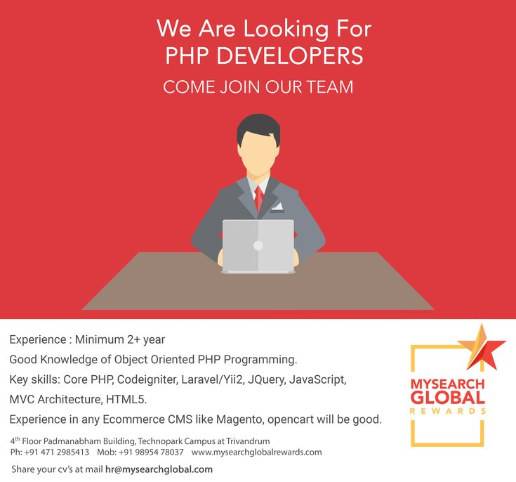 @mysearchglobal We are looking for #PHP #Developers Exp2+Years  Good knowledge of #objectorientedphp #Programming. #CorePHP #Codeigniter #Laravel #Yii2, #JQuery, #JavaScript, #MVC #Architecture, #HTML5,#Ecommerce #CMS Like #Magento, #Opencart hr@mysearchglobal.com+91 9895478037