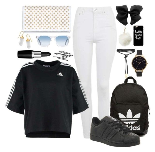 """""""Adidas😈😈"""" by lozforlife on Polyvore featuring Topshop, adidas, Oliver Peoples, Olivia Burton, Charlotte Russe, L. Erickson, adidas Originals, Christian Louboutin and BillyTheTree"""