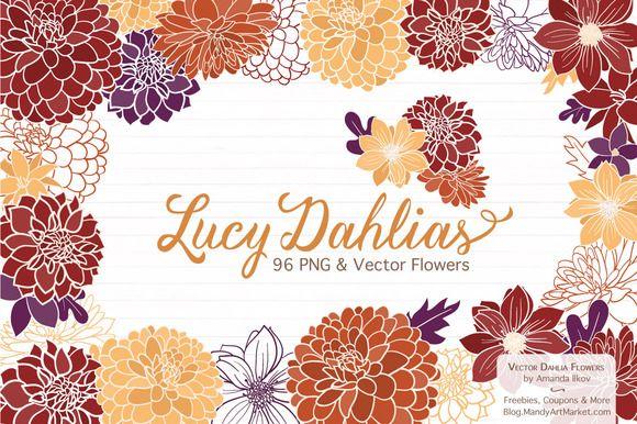 Autumn Dahlia Flower Clipart by Amanda Ilkov on @creativemarket https://crmrkt.com/xkbpK