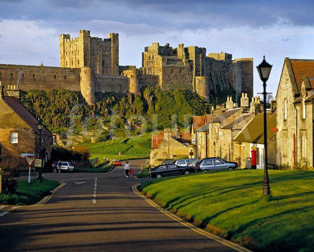 northumberland village | Bamburgh castle & village, Northumberland (image preview: FOT406059)
