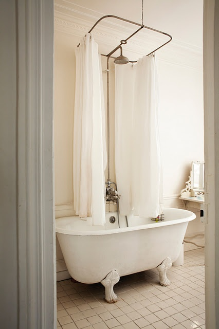 clawfoot tub with a curtain art and decor pinterest. Black Bedroom Furniture Sets. Home Design Ideas