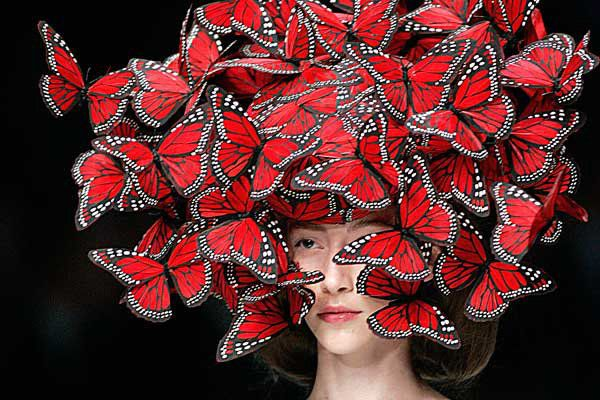 Alexander McQueen's Butterfly Hat, part of his Spring/Summer 2008 collection
