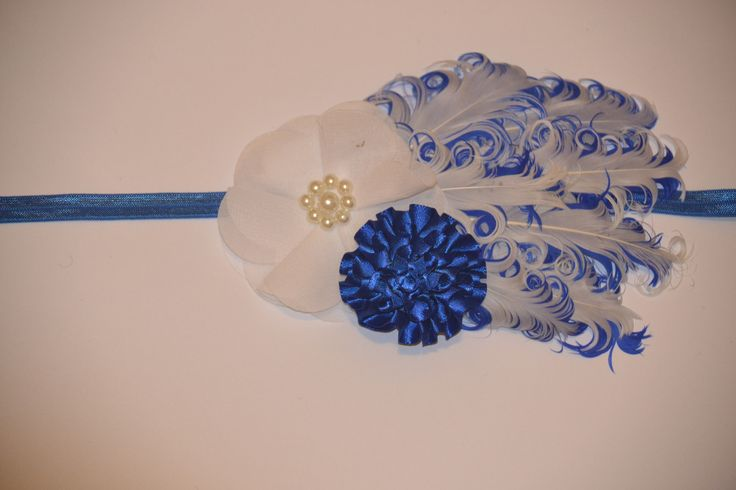 Blue and white feather headpiece
