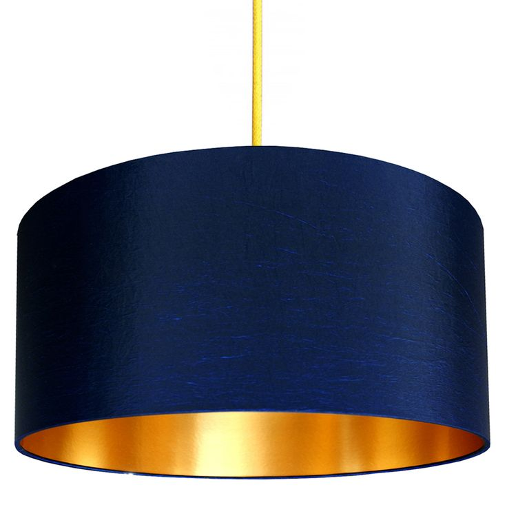Handmade Gold Lined Lampshade In Midnight Blue Love