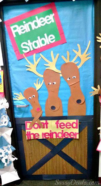 """Don't Feed The Reindeer"" Classroom Door Decoration For Christmas or Winter Bulletin Board idea | http://www.sassydealz.com/2013/12/dont-feed-reindeer-classroom-door.html"