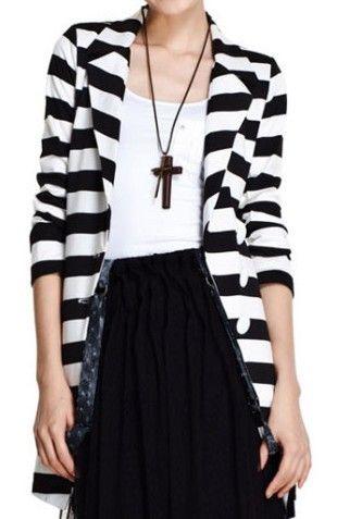 Black White Contrast Stripes Longline Tuxedo BlazerStripes Tuxedos, Long Stripes, Stripes Longline, Longline Tuxedos, Black White, White Contrast, Stripes Blazers, Tuxedos Blazers, Contrast Stripes