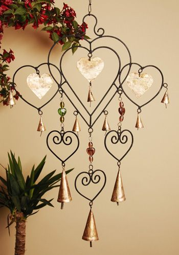 Multi heart recycled iron windchime,bells & glass