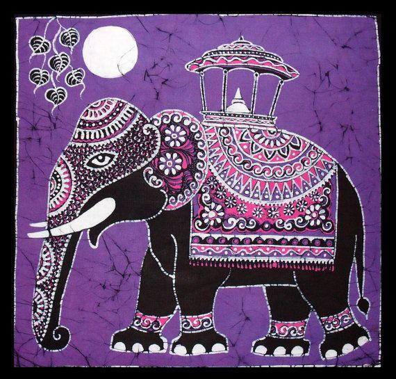 Batik Wall Hanging Elephant Tapestry Batik Art por eyeconcept