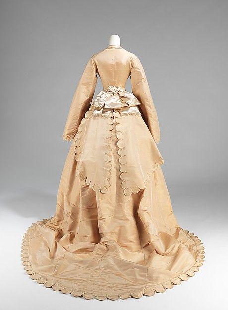 Wedding ensemble Manufacturer: Courvoisier (French) Date: 1870 Culture: American Medium: silk, leather
