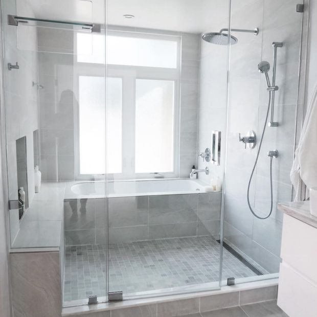 Interesting idea about the shower and tub enclosure...Damsel In Dior Home
