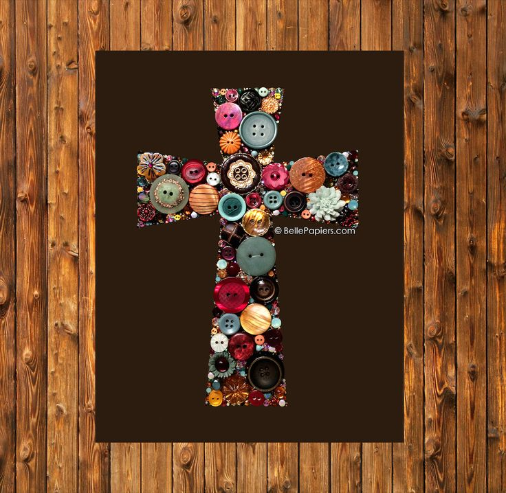 Rustic Cross Button Art Crucifix Vintage Buttons & Swarovski Rhinestones