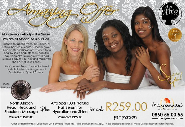 Mangwanani African Day Spa Promo: Afro Spa Hair Serum #wordtiffie Need similar (or other copywriting/web content) work done? Contact me - darrell@wordtiffie.co.za