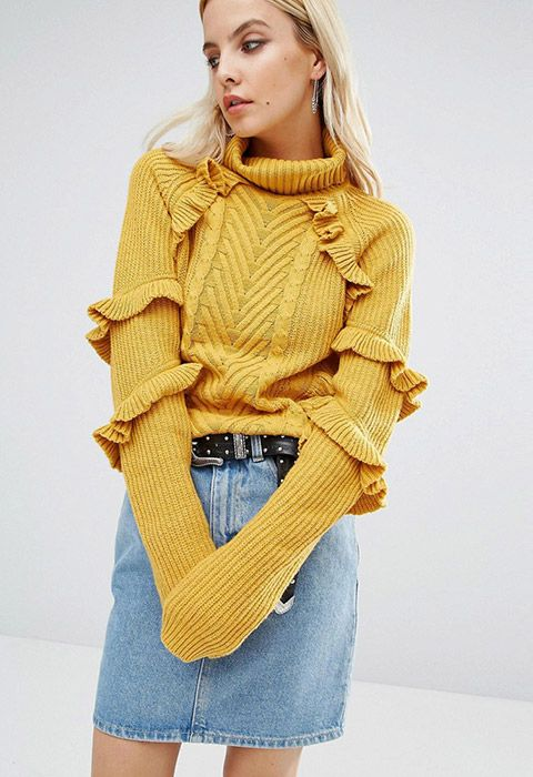 So you want a cosy turtleneck, that ticks off that ruffled, super-girlie trend, too? We'll just be leaving this here then. Just as perfect with your work trews as it is tucked into denim errything