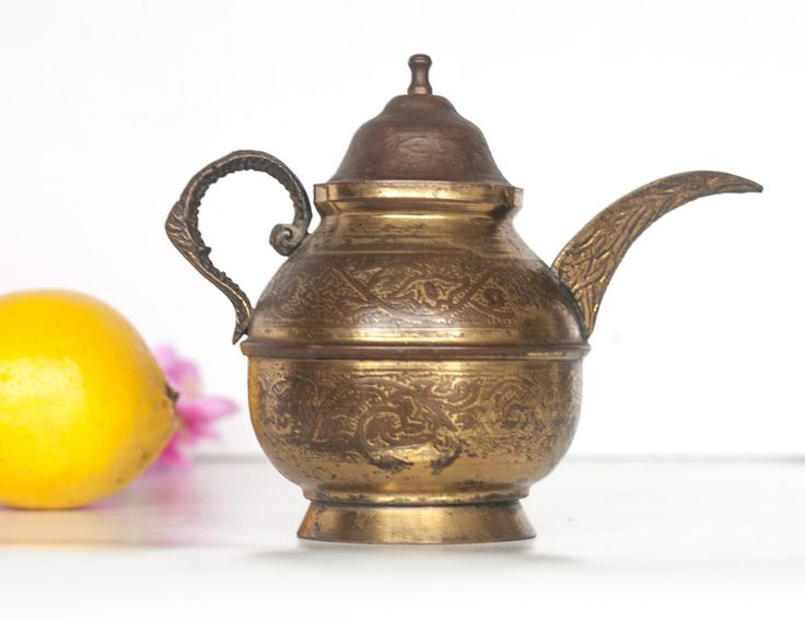 Decorative Moroccan Teapot: Vintage Mediterranean Teapot with Engraved Decorations, Islamic Metal Teapot, Middle Eastern Style Decor by CozyTraditions on Etsy