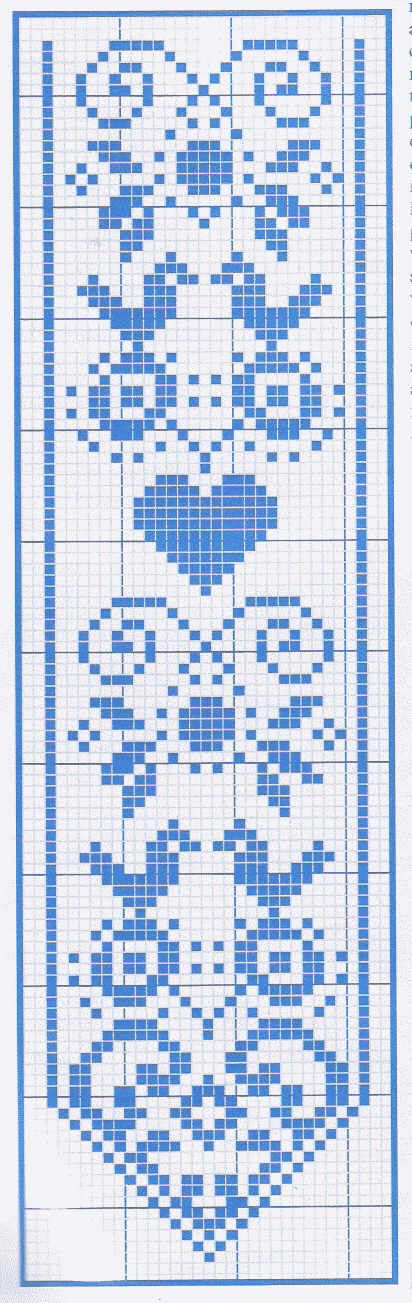 Although this is for cross stitch, it could be done in filet crochet Another terrific bookmark or pinkeep. http://digilander.libero.it/assitpuntocroce/schemi/schema-segnalibro1.jpg