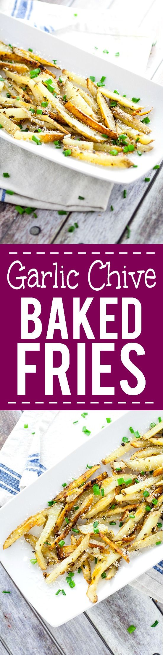 Garlic Chive Baked French Fries recipe -This Garlic Chive Baked French Fries recipe turns an American classic into a zesty new favorite with fresh garlic and chives tossed with butter and fries and baked in the oven. This looks like a fabulous quick and easy side dish recipe! What's not to love?!