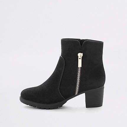 black zip detail heeled boots