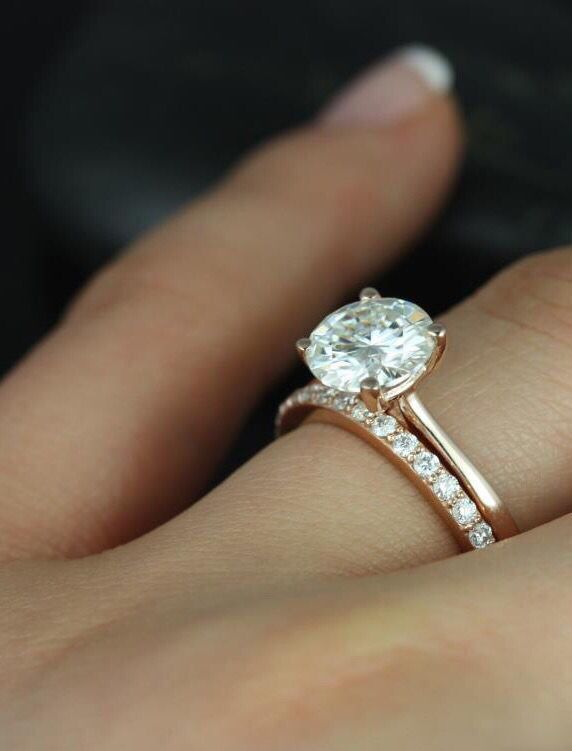 Rose gold solitaire, pave set wedding band