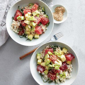 """Poke (pronounced POH-keh) is a popular Hawaiian salad featuring raw tuna. """"Sushi-grade"""" tuna means that it is the highest-quality fish offered at the market. Seek out a reputable fishmonger or retailer, and don't be afraid to ask where the fish came from and how long it has been there."""