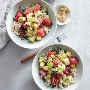 Tuna Poke Bowls with Brown Rice and Kale   | MyRecipes.com