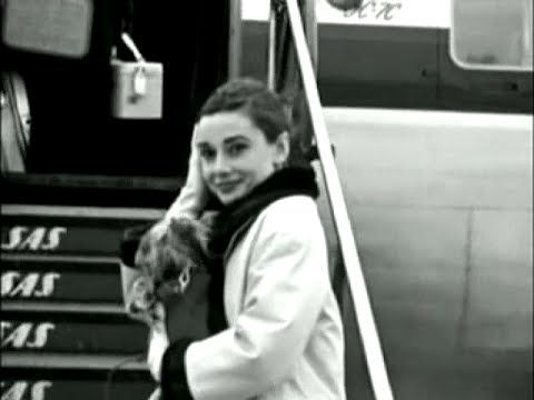 January 1, 1956: Audrey Hepburn at the Copenhagen Airport flying SAS to Rome.