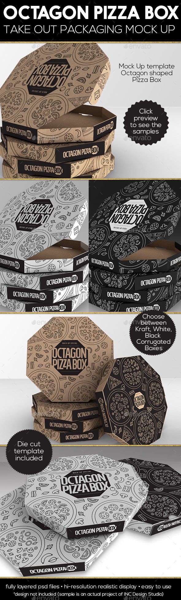 Packaging MockUp Octagon Pizza Box. Download here…