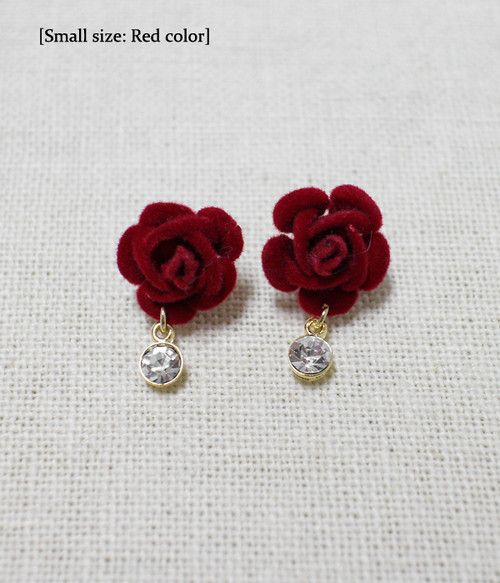 Gorgeous Handmade Small Rose Earrings available in 4 colours
