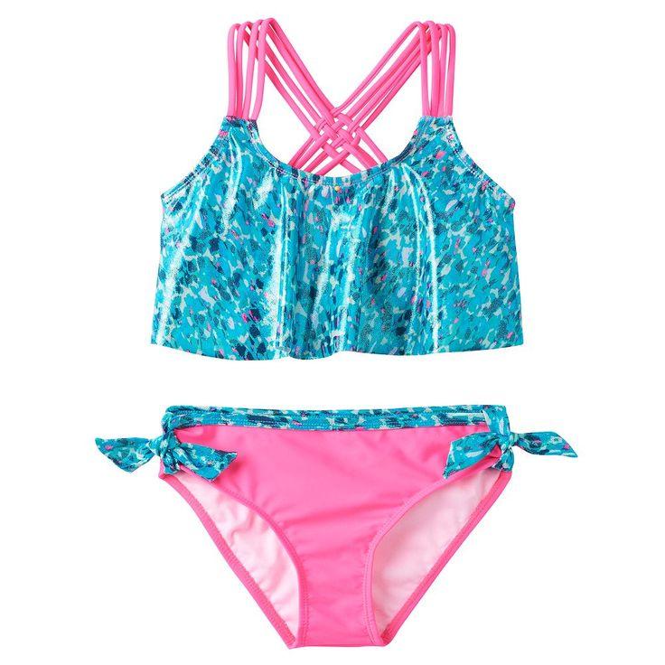 Girls 7-16 Pink Platinum Animal Print Tankini & Scoop Bottoms Swimsuit Set, Size: 7-8, Lt Green