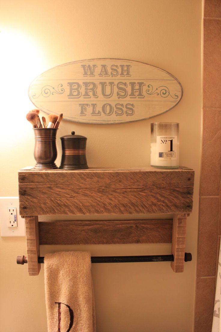 Rustic Pallet Shelf & Towel Rack by MadeWithLoveByBess on Etsy https://www.etsy.com/listing/198399486/rustic-pallet-shelf-towel-rack