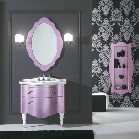 Mueble-de-bano-color-lila: http://modelosdecasasmodernas.com/2016/11/25/muebles-bano-lavabo/