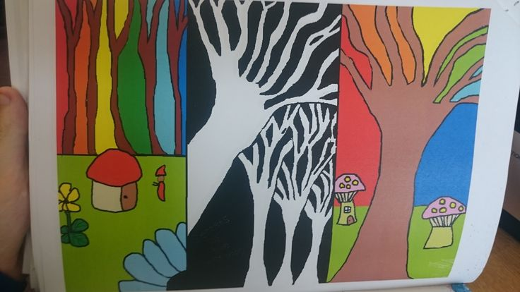 This Is My Exam Experimentation I Used A Lot Of Colour In Piece It Based On Theme Trees Put Portfolio Because