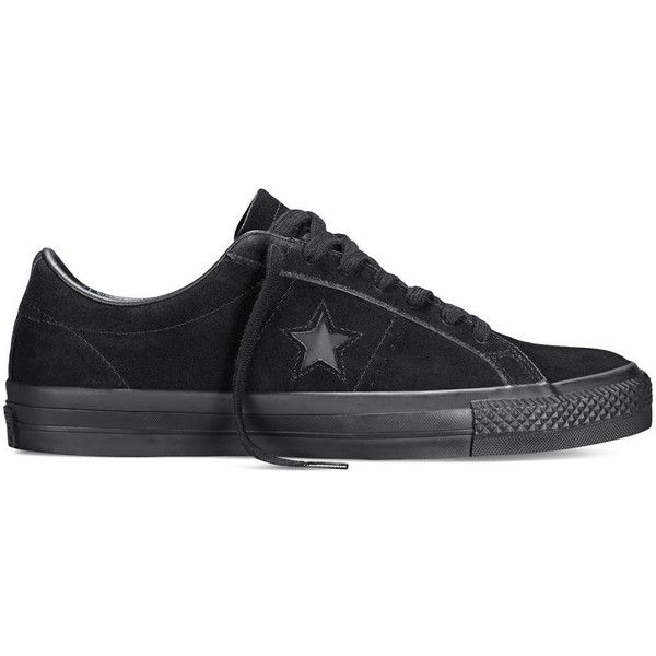 Converse CONS One Star Pro – black Sneakers ($70) ❤ liked on Polyvore featuring shoes, sneakers, black, converse footwear, skate sneakers, grip shoes, black shoes and grip trainer